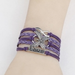 Fashion Charm Wrap Leather Butterfly Love Friendship Cuff Infinity Bracelet